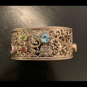 Samuel B sterling silver gemstone cuff bracelet